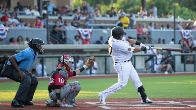 Honey Hunter hitting a pitch