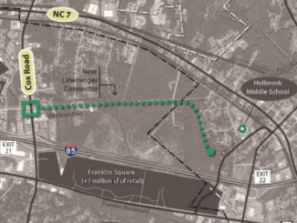 Map showing route of proposed new road