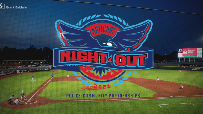 Baseball park with National Night Out logo